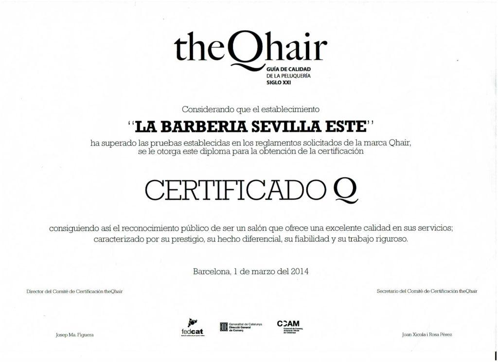 Certificado de Calidad TheQhair de las Barberas de Sevilla